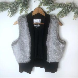 KENSIE Size Medium Gray Faux Fur Knit Sweater Vest Winter/Fall Layering